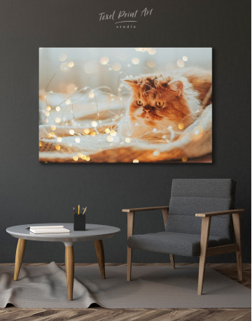Christmas Light Cat Canvas Wall Art - image 5