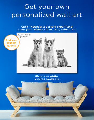 Young Huskies and Kitten Canvas Wall Art - image 1