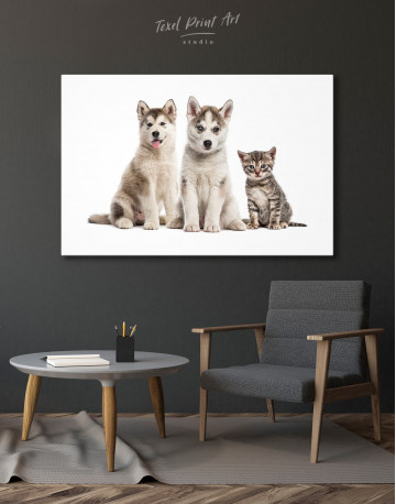 Young Huskies and Kitten Canvas Wall Art - image 4