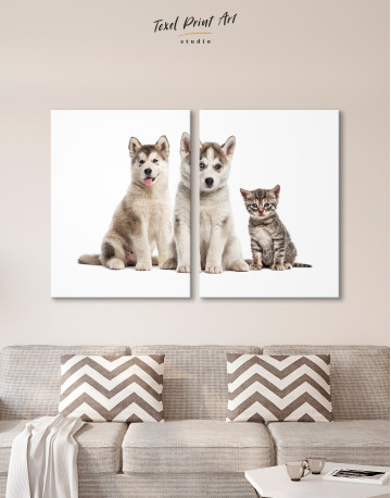 Young Huskies and Kitten Canvas Wall Art - image 9