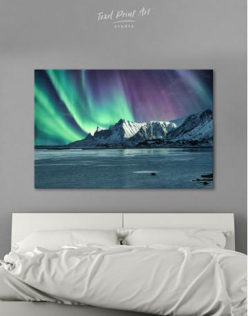 Lofoten Islands Mountains Aurora Borealis Canvas Wall Art