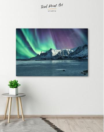 Lofoten Islands Mountains Aurora Borealis Canvas Wall Art - image 2