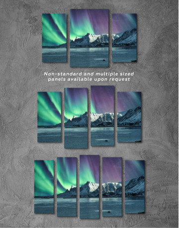 Lofoten Islands Mountains Aurora Borealis Canvas Wall Art - image 3