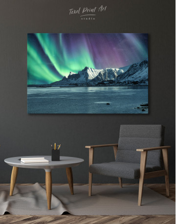 Lofoten Islands Mountains Aurora Borealis Canvas Wall Art - image 4