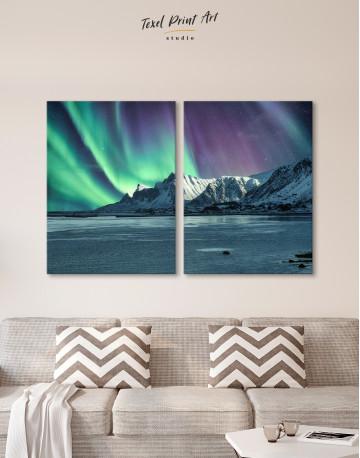 Lofoten Islands Mountains Aurora Borealis Canvas Wall Art - image 10