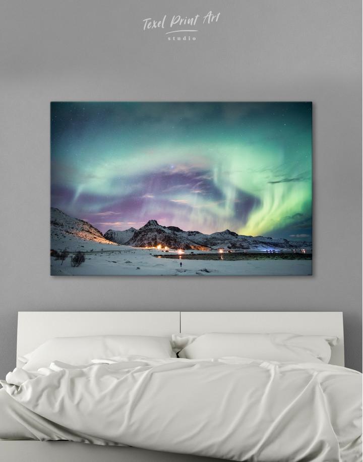 Northern Lights Mountain Winter Canvas Wall Art