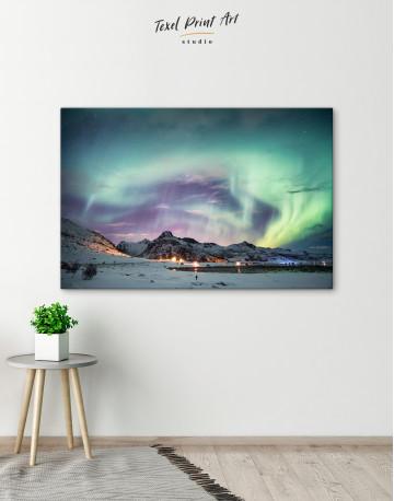 Northern Lights Mountain Winter Canvas Wall Art - image 4