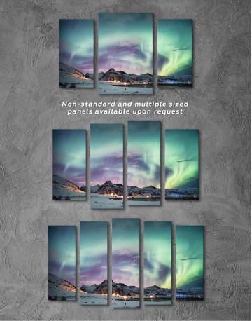 Northern Lights Mountain Winter Canvas Wall Art - image 5