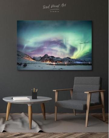 Northern Lights Mountain Winter Canvas Wall Art - image 6