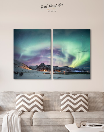 Northern Lights Mountain Winter Canvas Wall Art - image 10