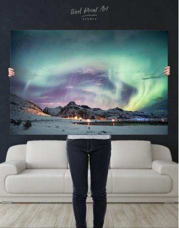 Northern Lights Mountain Winter Canvas Wall Art - image 1