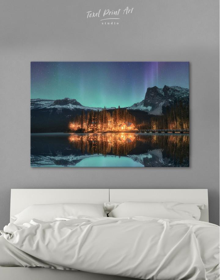 Emerald Lake Aurora Borealis Canvas Wall Art
