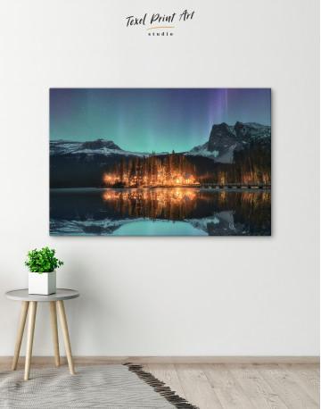 Emerald Lake Aurora Borealis Canvas Wall Art - image 4