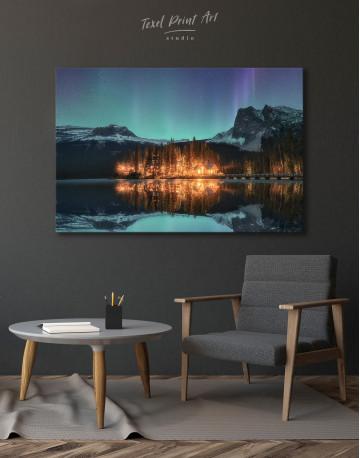 Emerald Lake Aurora Borealis Canvas Wall Art - image 2