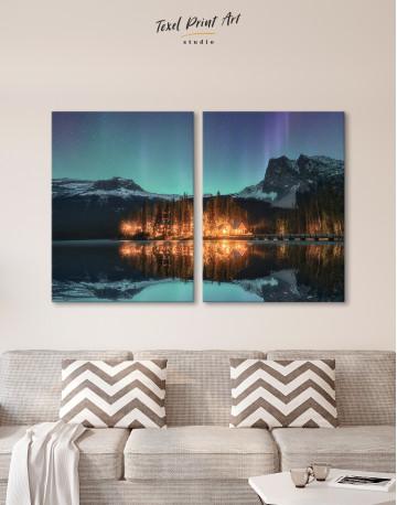 Emerald Lake Aurora Borealis Canvas Wall Art - image 7