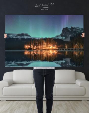 Emerald Lake Aurora Borealis Canvas Wall Art - image 8