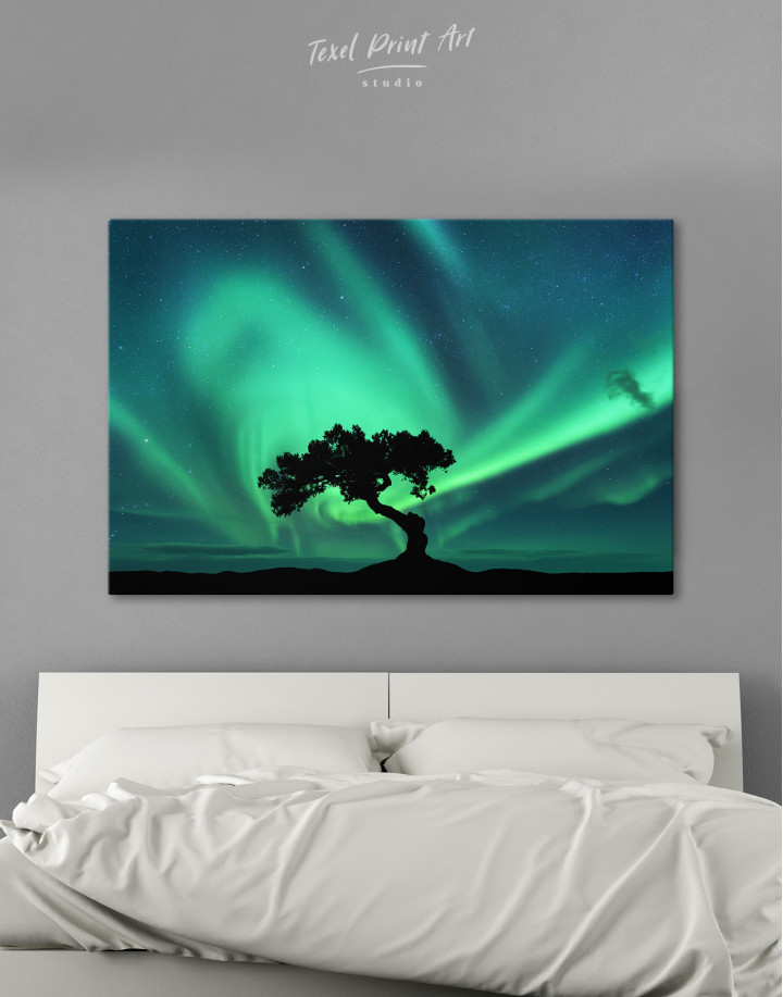Aurora Borealis and Silhouette of a Tree Canvas Wall Art