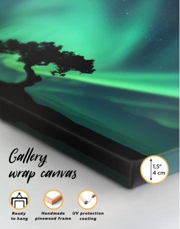 Aurora Borealis and Silhouette of a Tree Canvas Wall Art - image 3