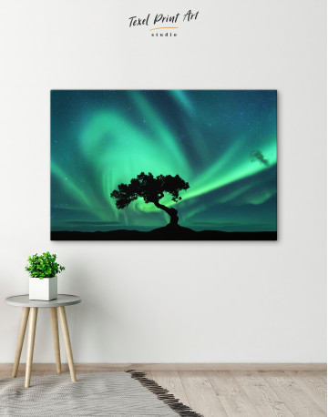 Aurora Borealis and Silhouette of a Tree Canvas Wall Art - image 5