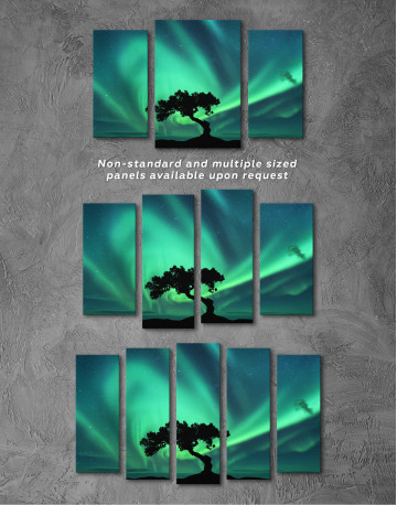 Aurora Borealis and Silhouette of a Tree Canvas Wall Art - image 6