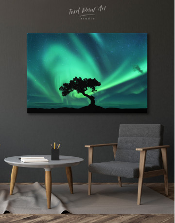 Aurora Borealis and Silhouette of a Tree Canvas Wall Art - image 7
