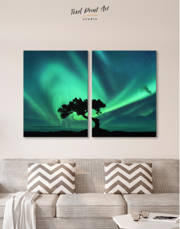 Aurora Borealis and Silhouette of a Tree Canvas Wall Art - image 2