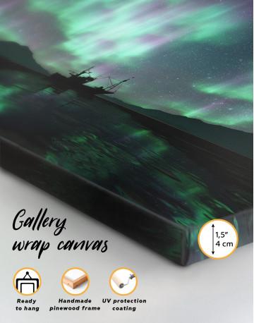 Aurora Borealis Landscape Canvas Wall Art - image 3