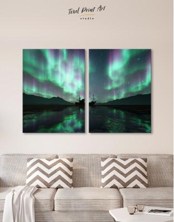 Aurora Borealis Landscape Canvas Wall Art - image 2
