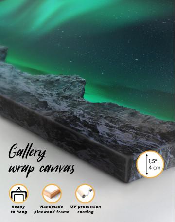 Panoramic Aurora Borealis Mountains Canvas Wall Art - image 1
