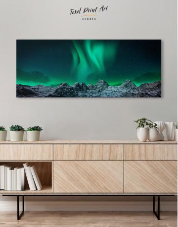 Panoramic Aurora Borealis Mountains Canvas Wall Art