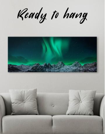Panoramic Aurora Borealis Mountains Canvas Wall Art - image 3