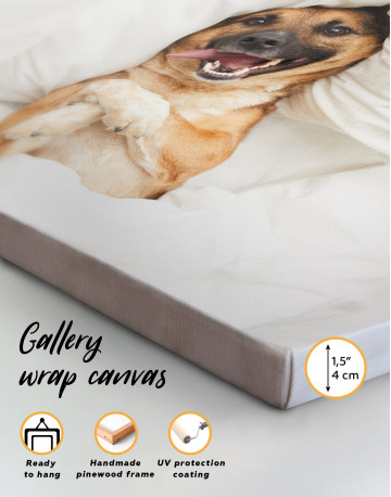 Happy Dog in Bed Canvas Wall Art - image 2