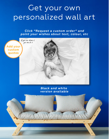 Happy Dog in Bed Canvas Wall Art - image 3