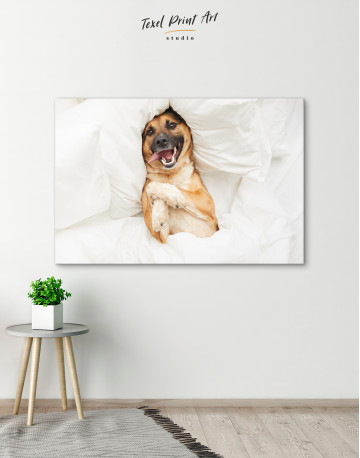 Happy Dog in Bed Canvas Wall Art - image 4