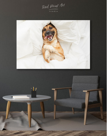 Happy Dog in Bed Canvas Wall Art - image 6