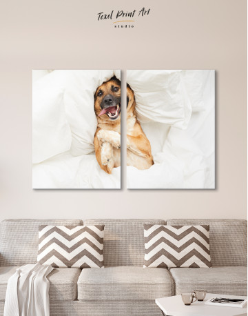 Happy Dog in Bed Canvas Wall Art - image 10