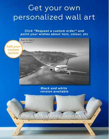 Aeroplane Flying Over Islands Scene Canvas Wall Art - image 5