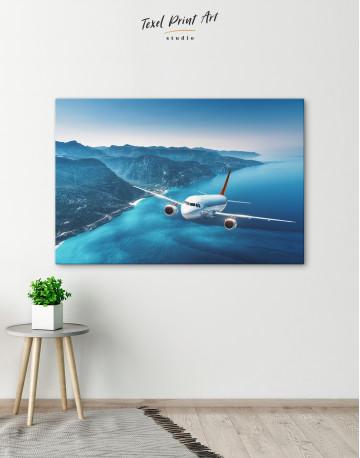 Aeroplane Flying Over Islands Scene Canvas Wall Art - image 4