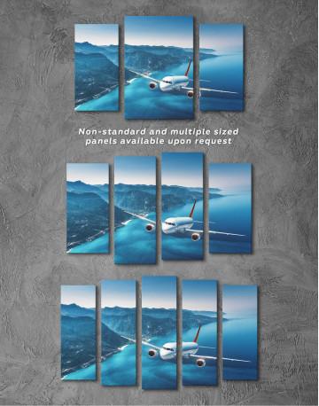 Aeroplane Flying Over Islands Scene Canvas Wall Art - image 3