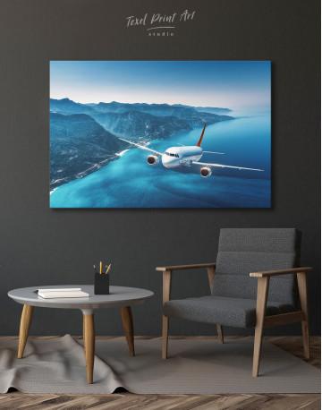 Aeroplane Flying Over Islands Scene Canvas Wall Art - image 2