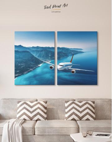 Aeroplane Flying Over Islands Scene Canvas Wall Art - image 9