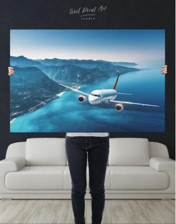 Aeroplane Flying Over Islands Scene Canvas Wall Art - image 8