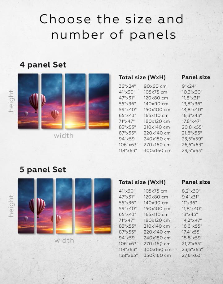 Sunset Sky Hot Air Balloon Canvas Wall Art - Image 7