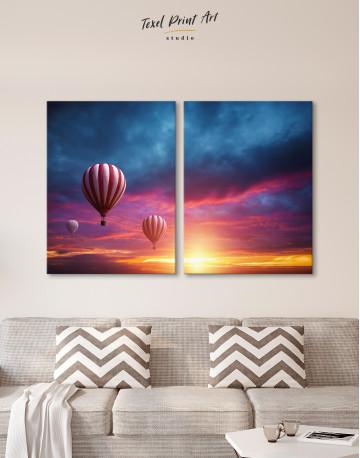 Sunset Sky Hot Air Balloon Canvas Wall Art - image 1