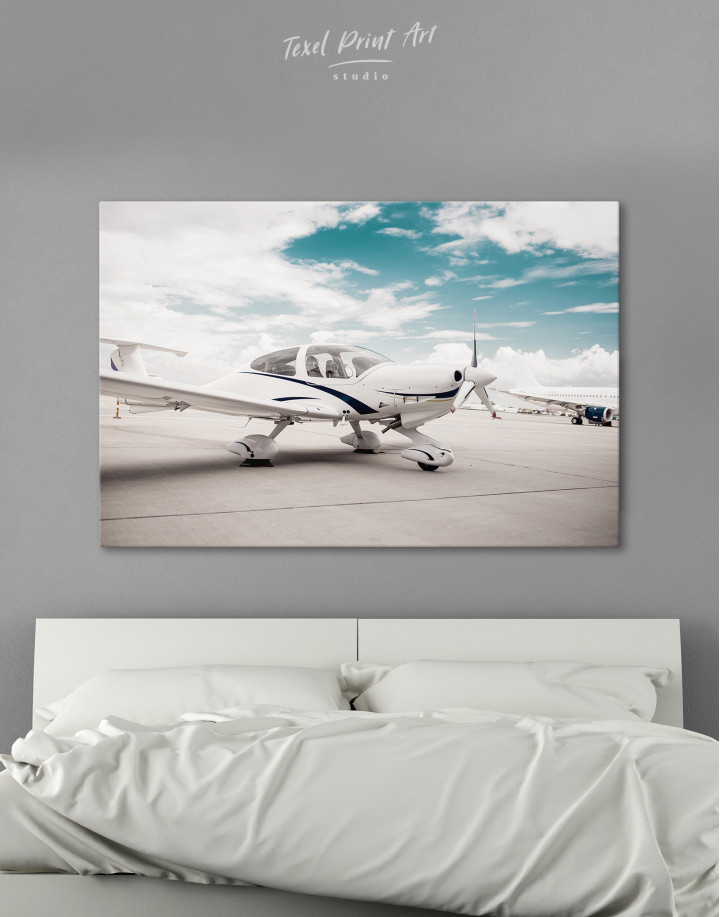 Propeller Airplane Airport Canvas Wall Art