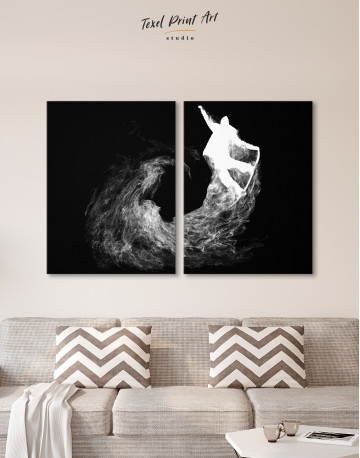 Silhouette Snowboarder Jump Canvas Wall Art - image 10