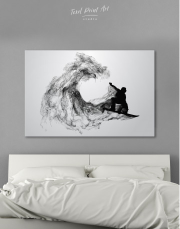 Black and White Abstract Snowboarder Canvas Wall Art