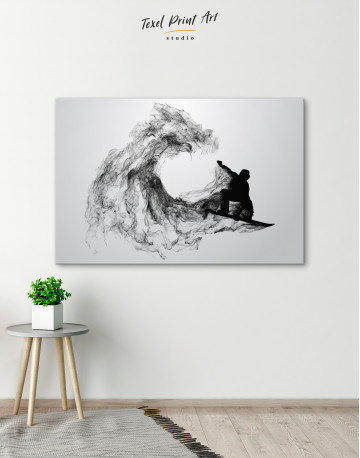 Black and White Abstract Snowboarder Canvas Wall Art - image 6