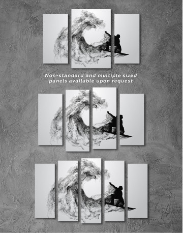Black and White Abstract Snowboarder Canvas Wall Art - image 5