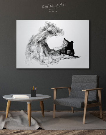 Black and White Abstract Snowboarder Canvas Wall Art - image 4